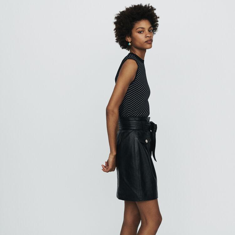 Gonna corta in pelle : Gonne e shorts colore NERO