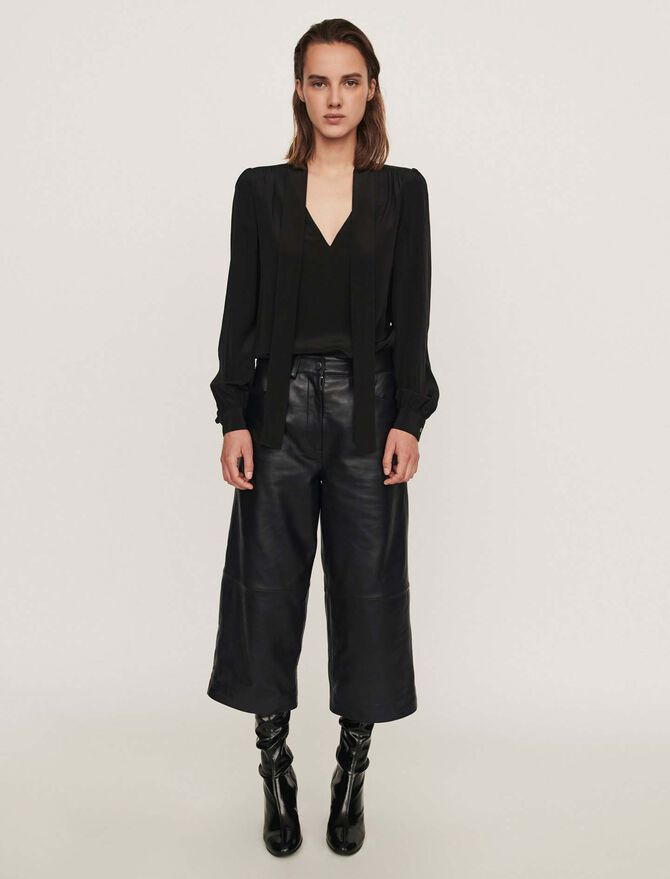 Pantaloni stile bermudain pelle - Soldes-RE-50 - MAJE
