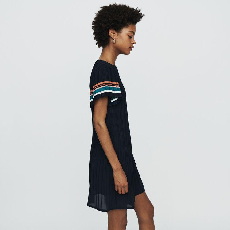 Scamiciato a righe con volant : Vestiti colore Blu Marino