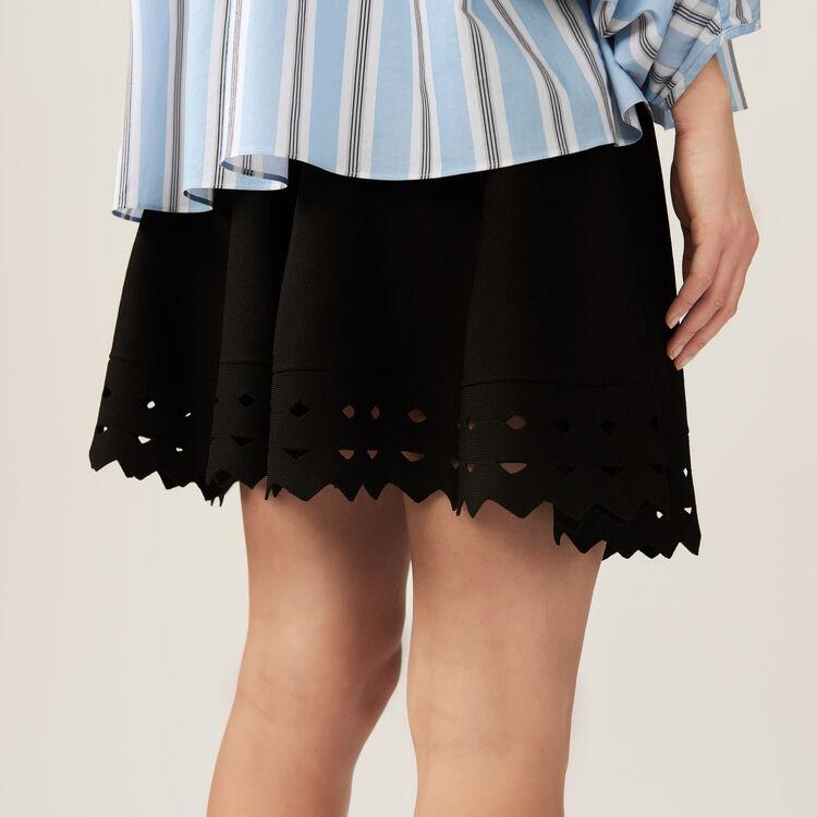 Gonna in maglia ricamata a punto ajour : Gonne e shorts colore Nero