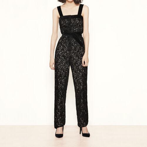 Tuta in pizzo floccato : Pantaloni & jeans colore Nero