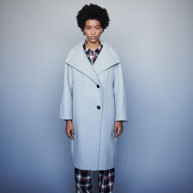 buy popular c25ad b14f2 Cappotto lungo con grande collo in lana