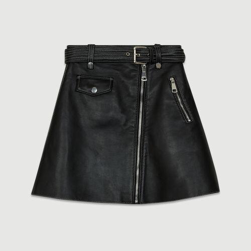 Gonna a trapezio in pelle : Gonne e shorts colore Nero