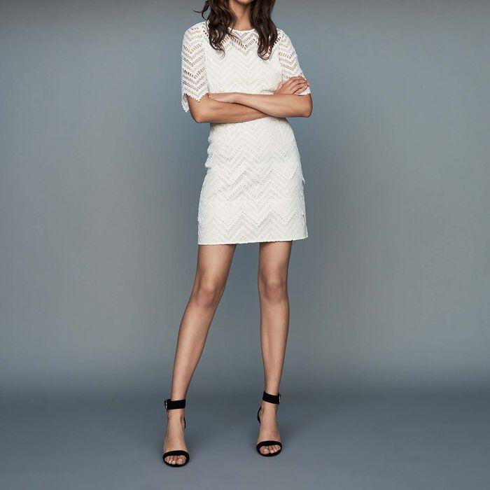 Vestito dritto in pizzo : Vestiti colore Bianco