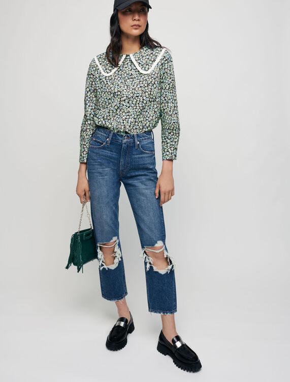 Camicia cotone stampato colletto ampio - Tutta la collezione - MAJE