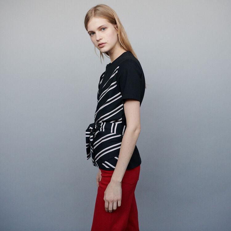 Top con applicazioni multimateriali : T-Shirts colore Nero