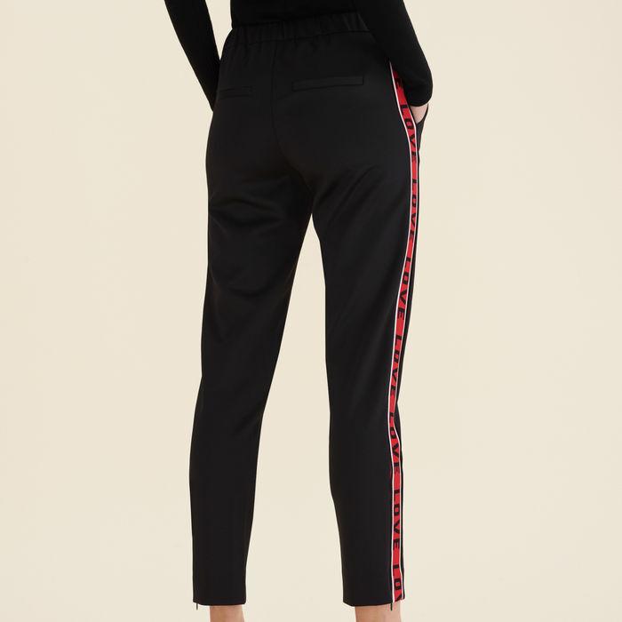 Pantaloni in satin con bande : Pantaloni colore Nero