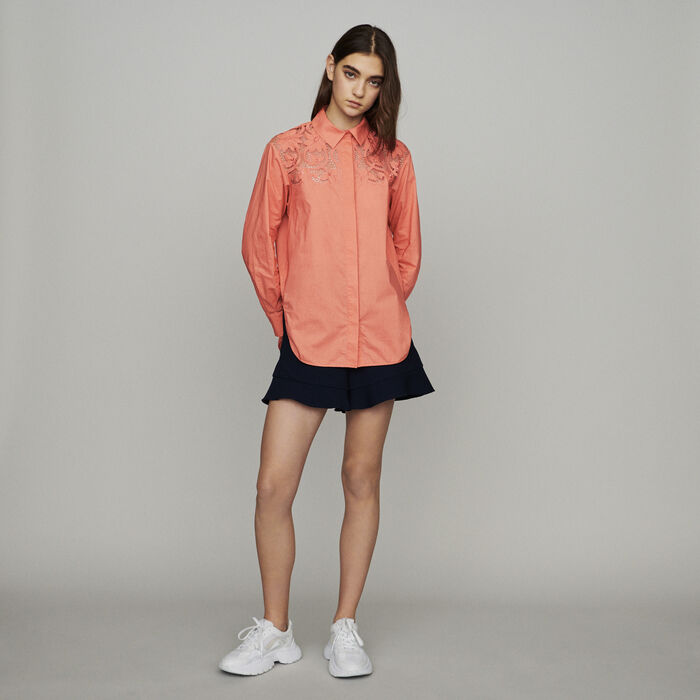 Camicia con pizzo : Tops e Camicie colore Corallo