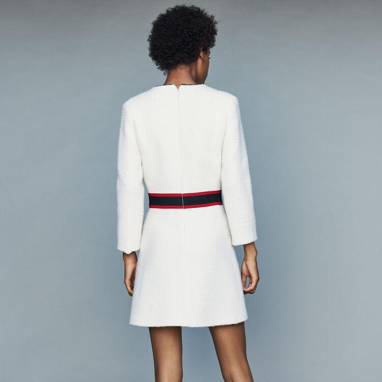 Vestito corto in tweed : Vestiti colore Ecru