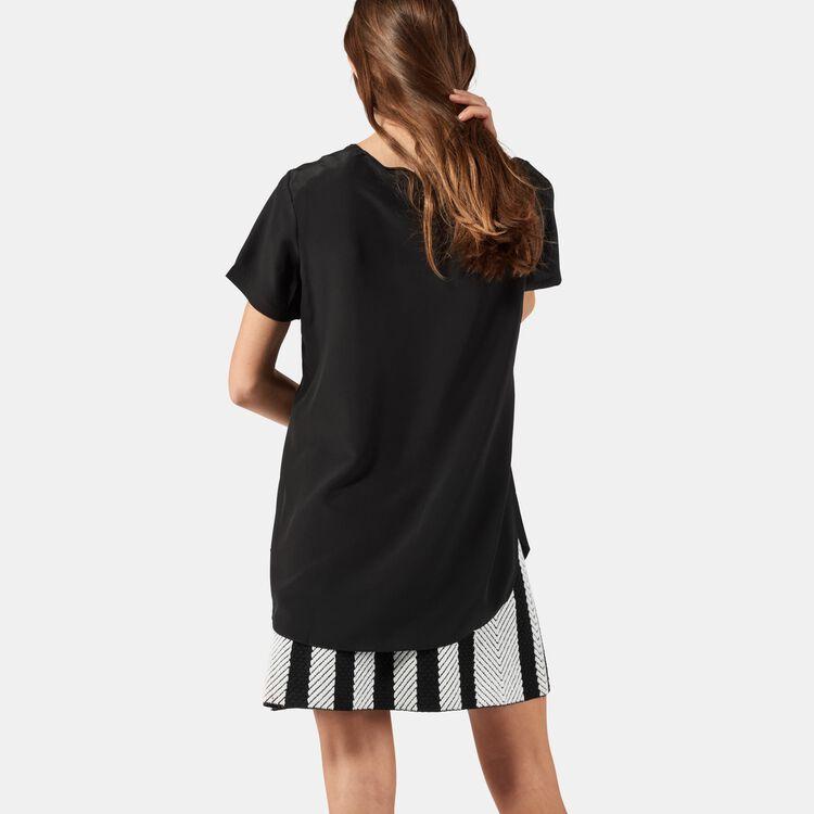 Top in seta con dettagli lavorati : Tops colore Nero