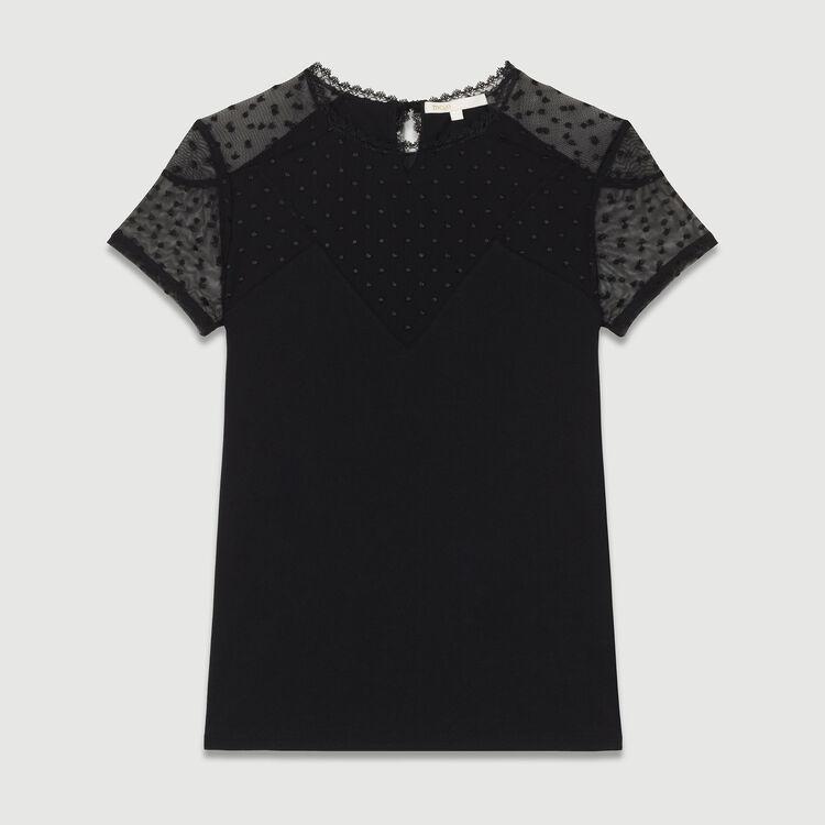 Tee-shirt con intarsi in plumetis : Vedi tutto colore Nero