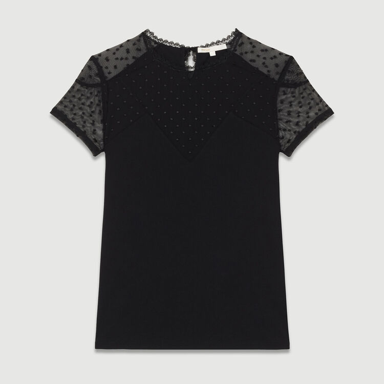 Tee-shirt con intarsi in plumetis : T-Shirts colore Nero