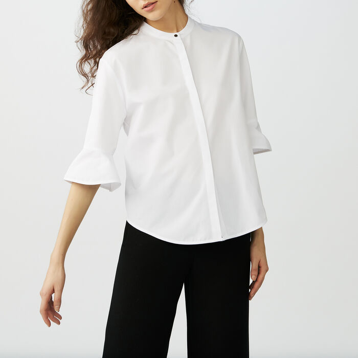 Poplin top : Camicie colore Bianco