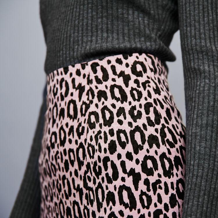 Gonna con spacco in jacquard stampato : Gonne e shorts colore Rosa