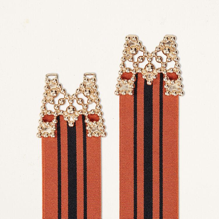Cintura alta elasticizzata a righe : Accessori colore Mattone