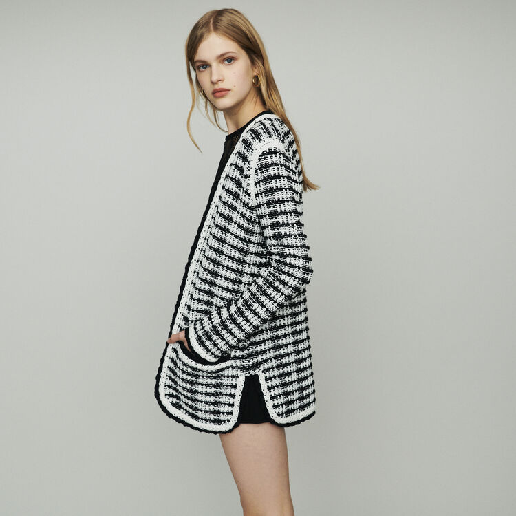 Cardigan-giacca lungo in maglia : Pullover e cardigan colore Bicolore