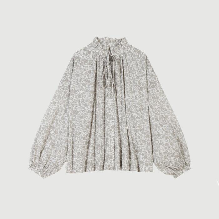 Camicia  con stampa florelae in cotone : Tops e Camicie colore Grigio