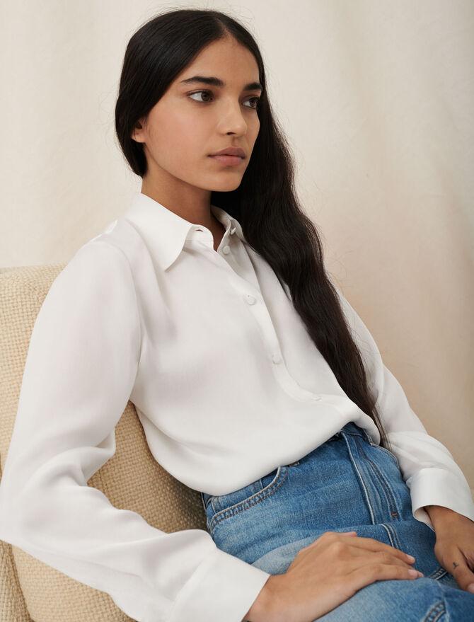 Camicia bianca in seta - Nuova collezione - MAJE