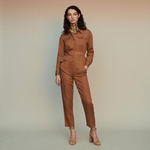 Tuta pantalone stile camicia : Pantaloni e Jeans colore Terracotta