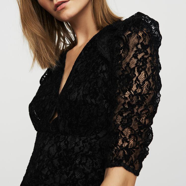 Vestito in pizzo vellutato : Vestiti colore Nero
