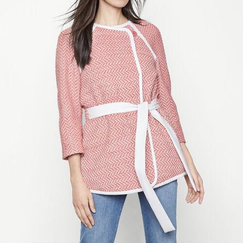 Cappotto in jacquard da annodare in vita : Cappotti colore Jacquard
