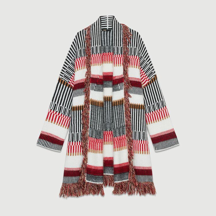 Cardigan in misto lana con frange : Maglieria colore Multicolore
