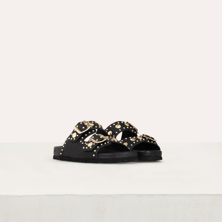 Sandali in pelle ornati di borchie : Scarpe piatte colore NERO