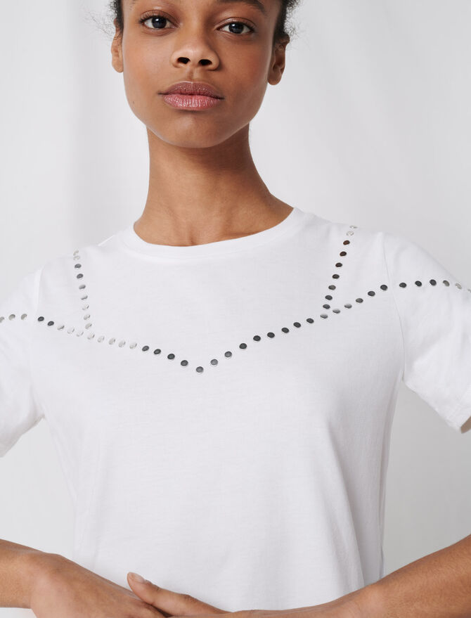 T-shirt bianca borchiata - T-Shirts - MAJE