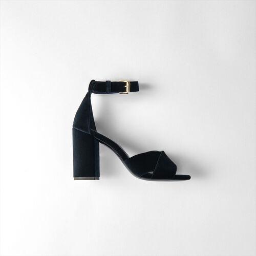 Sandali con tacco in velluto : Scarpe colore Blu Marino