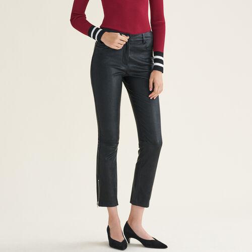 Pantaloni in pelle con dettagli zip : Pantaloni colore Nero