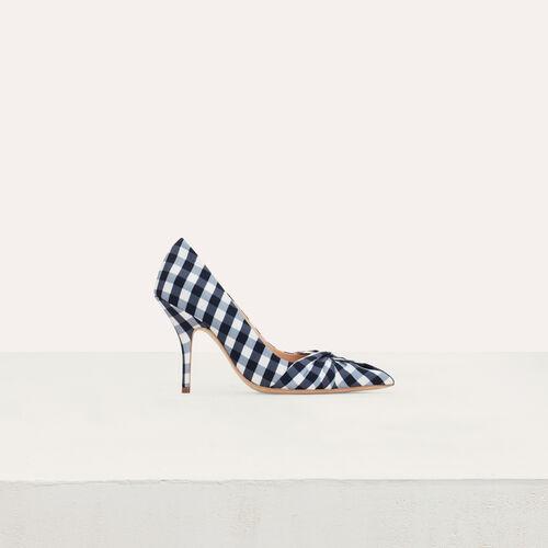 Decollete drappeggiate in vichy blu : Scarpe colore Blu