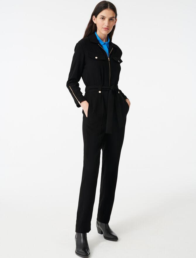 Tuta-pantaloni in crespo con zip - Jumpsuits - MAJE