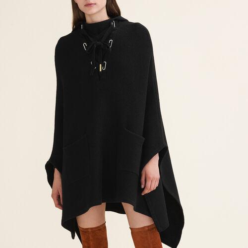 Poncho a mantella in maglia tubolare : Pullover e cardigan colore Nero