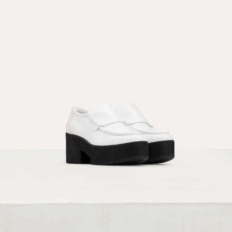 Mocassini in cuoio con platform : Scape basse colore Bianco