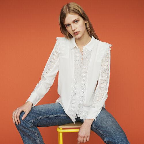 Camicia in pizzo : Tops e Camicie colore Bianco