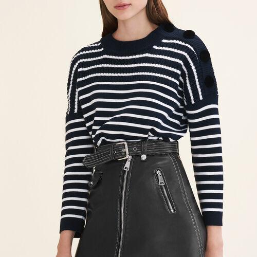 Marinière con bottoni in velluto : Pullover e cardigan colore Blu Marino