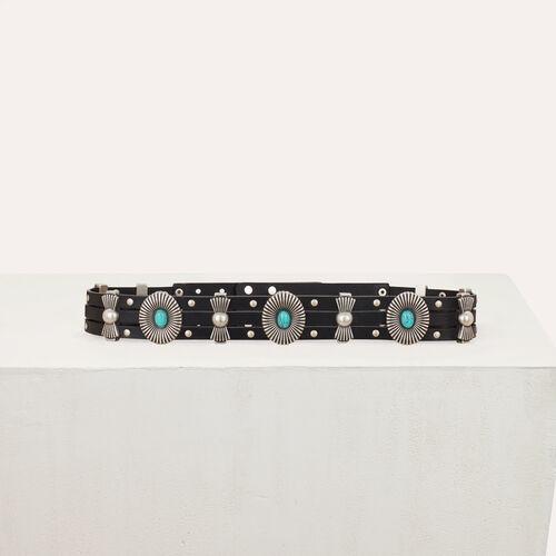Cintura a vita alta in pelle con borchie : Cinture colore Nero