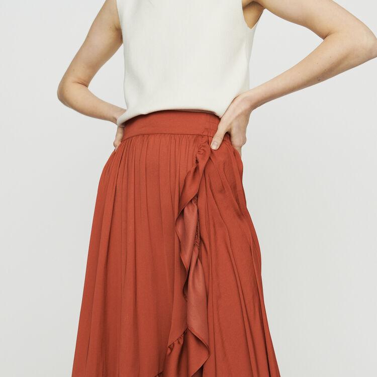 Gonna lunga stile portafoglio : Gonne e shorts colore Terracotta