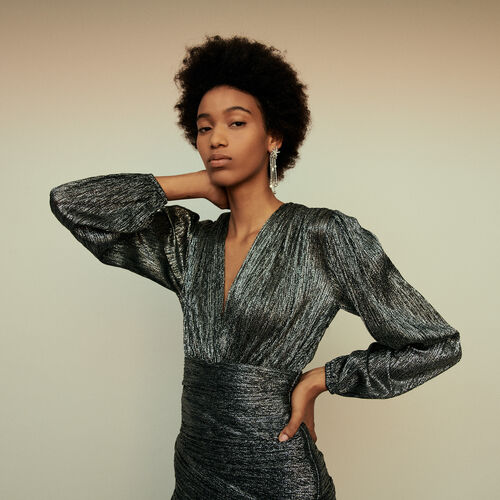Vestito drappeggiato in Lurex : Collezione Inverno colore Argento