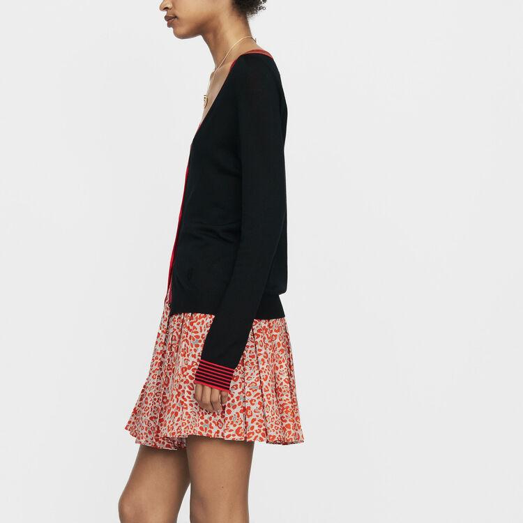 Cardigan fine in lana merinos : Maglieria colore Nero