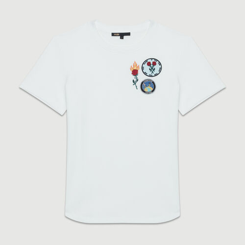 Tee-shirt in cotone con patch : T-Shirts colore Bianco