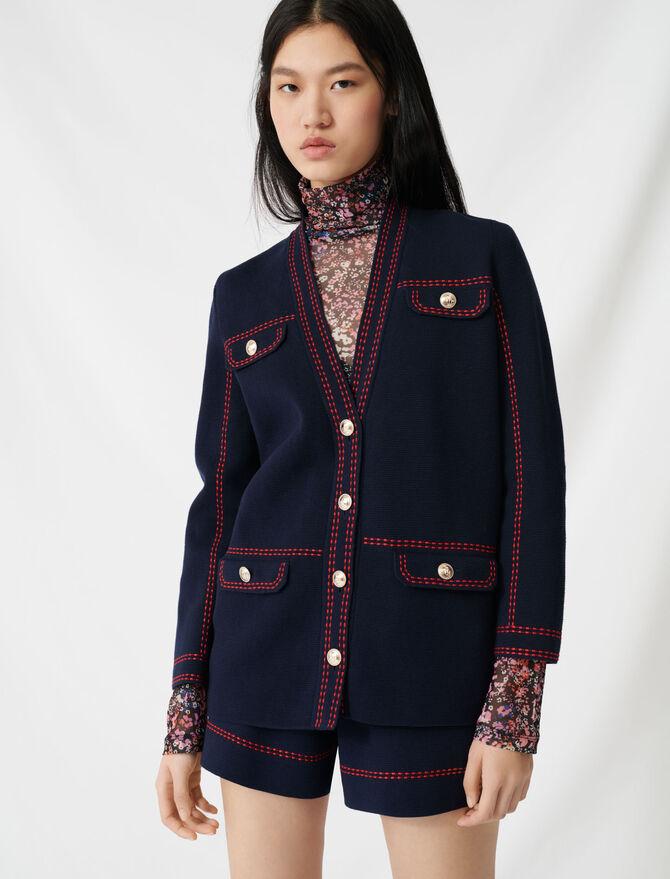 Cardigan con impunture contrastanti - Pullover e cardigan - MAJE