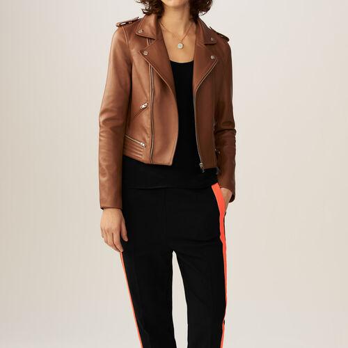 Giubbotto in pelle : Cappotti & Giubbotti colore Rosso