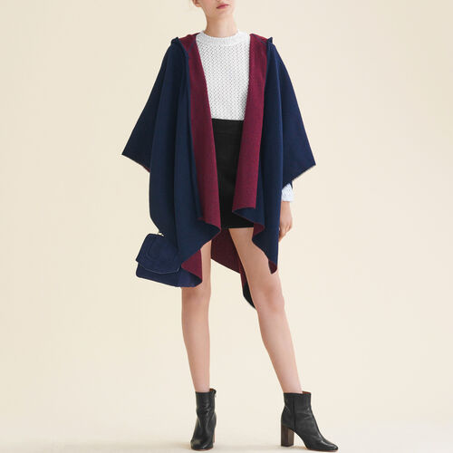 Poncho reversibile con cappuccio : Accessori colore BORDEAUX