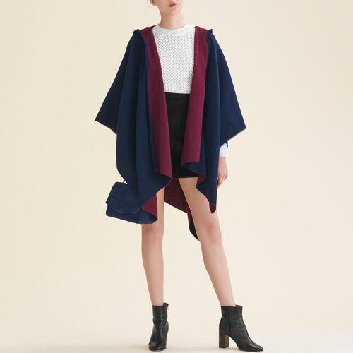 Poncho reversibile con cappuccio : Sciarpe e Foulard colore BORDEAUX
