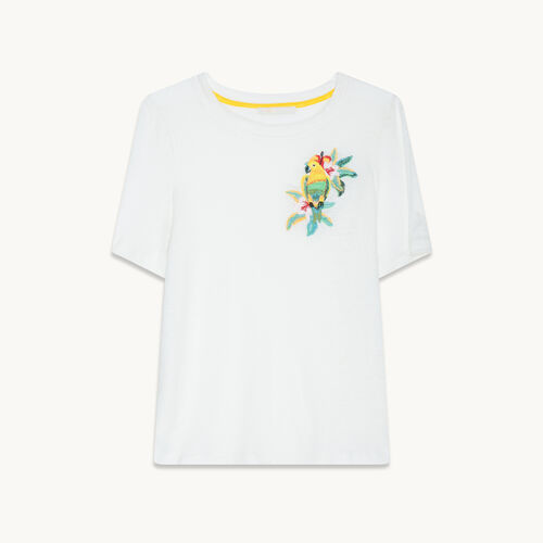 T-shirt in lino con ricami - null - MAJE