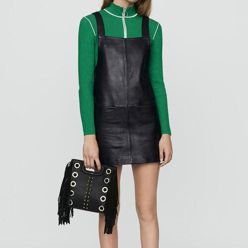 Vestito chasuble in pelle : Nuova Collezione colore Nero
