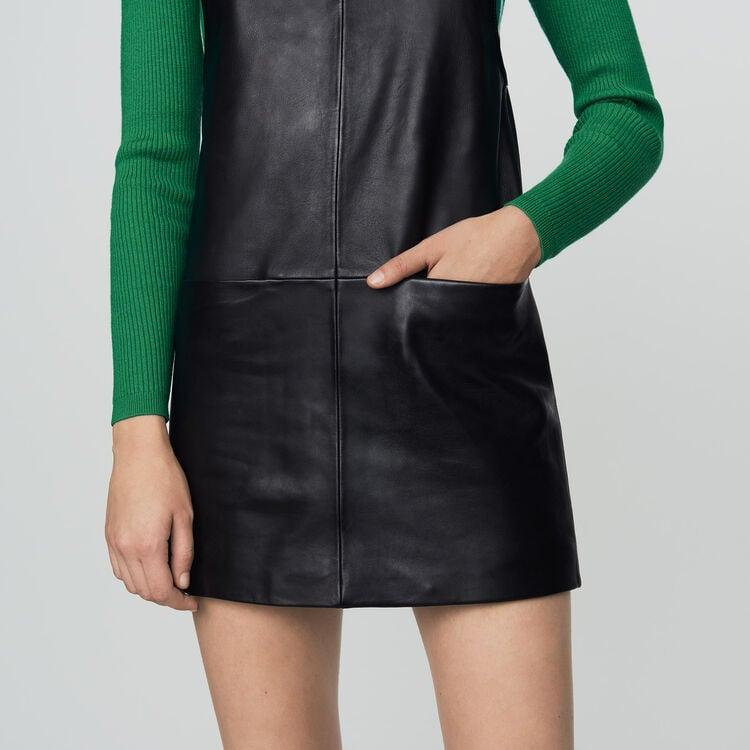 Vestito chasuble in pelle : Prêt-à-porter colore Nero