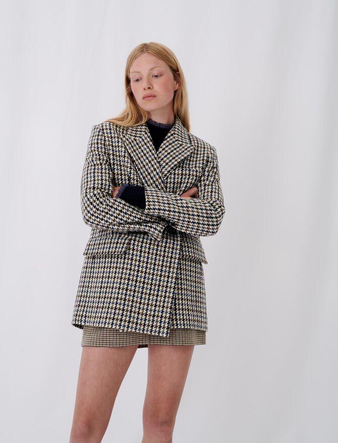 Cappotto stile giacca a quadri - null - MAJE
