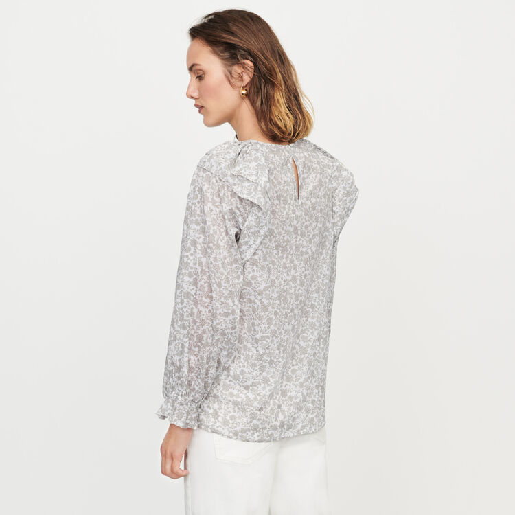Top a fiori con volant : Tops e Camicie colore Grigio